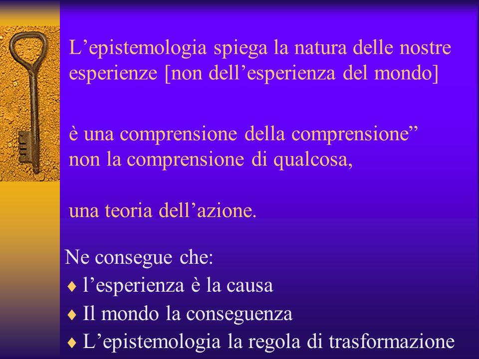 L'epistemologia spiega la natura delle nostre esperienze [non dell'esperienza del mondo] è una comprensione della comprensione non la comprensione di qualcosa, una teoria dell'azione.